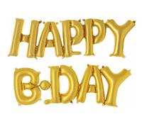 Шарик Happy B-day золото Размер строки 23*75 см