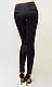 Женские леггинсы, дайвинг, средняя посадка, вставка черный лампас р. 42 ,44 черный (1678), фото 4