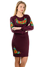 """Платье вышиванка, цвет-марсала """"Калина"""" (с длинным рукавом)"""