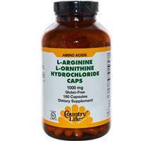 L- Аргинин и L- Орнитин , Country Life, 1000 мг, 180 капсул