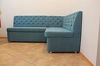 Кухонный уголок со спальным местом в бирюзовой ткани