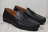 Кожаные стильные мужские мокасины Prime черные (размеры:42,44), фото 3