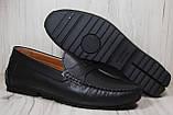 Кожаные стильные мужские мокасины Prime черные (размеры:42,44), фото 2