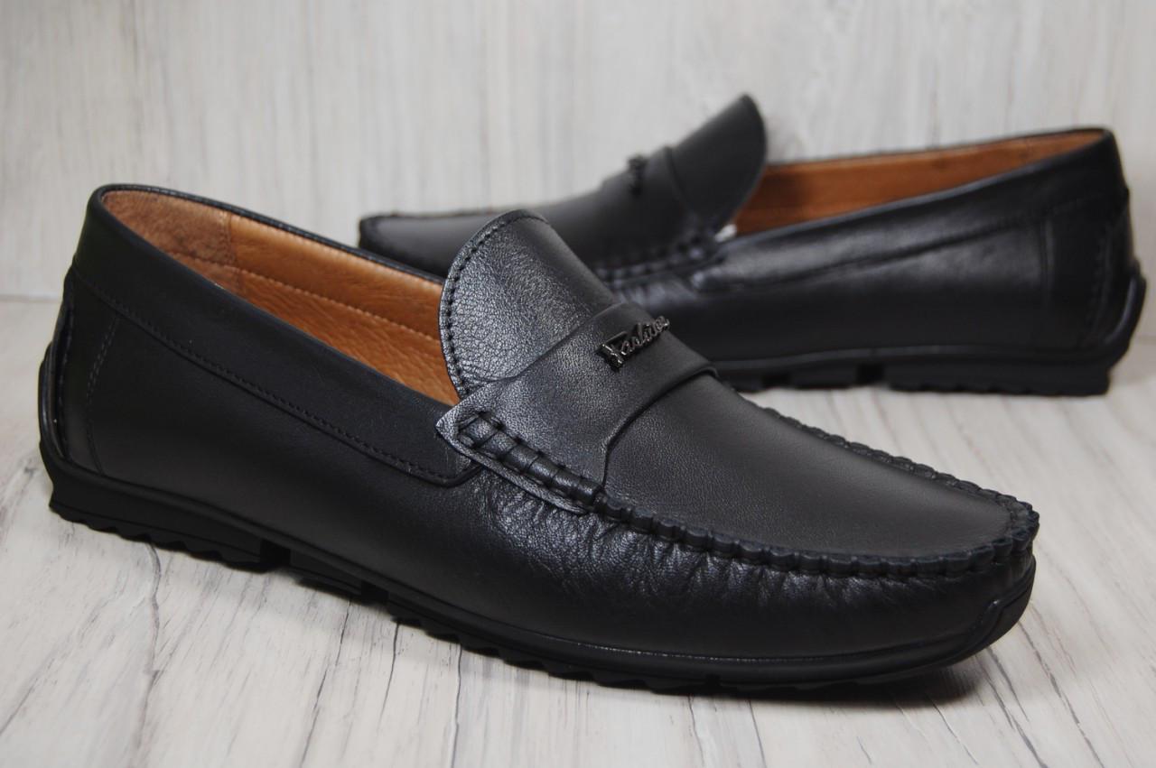 Кожаные стильные мужские мокасины Prime черные (размеры:42,44)