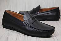 Кожаные стильные мужские мокасины Prime черные(размеры:42,44)