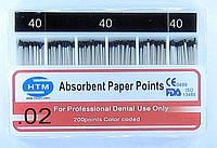 Absorbent Paper Points №40 02 HTM (бумажные штифты №40 конусность 02)