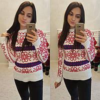 Молодежный свитер с орнаментом и полоской