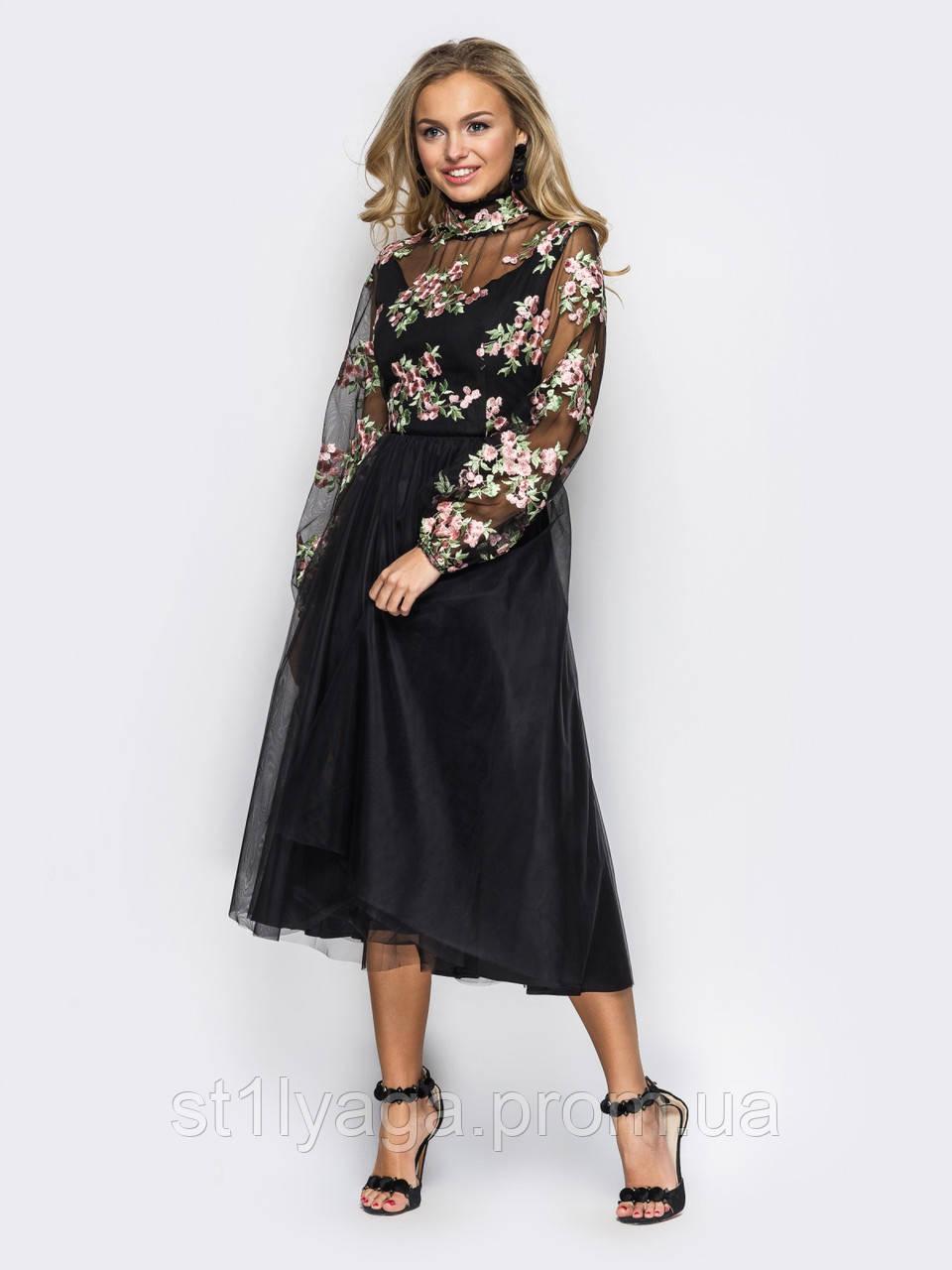 e0ab50f583ea4d0 Вечернее платье из фатина с красивой вышивкой черный - Интернет-магазин  Stilyaga-Shop.