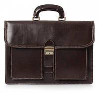 Мужской портфель из натуральной кожи, Италия темно-коричневого цвета