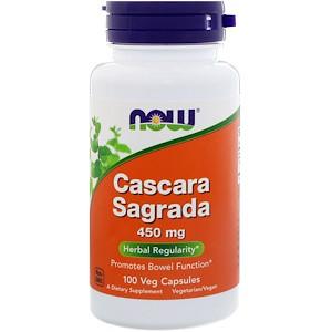 Now Foods, Крушина (Cascara Sagrada), 450 мг, 100 капсул вегетаріанських