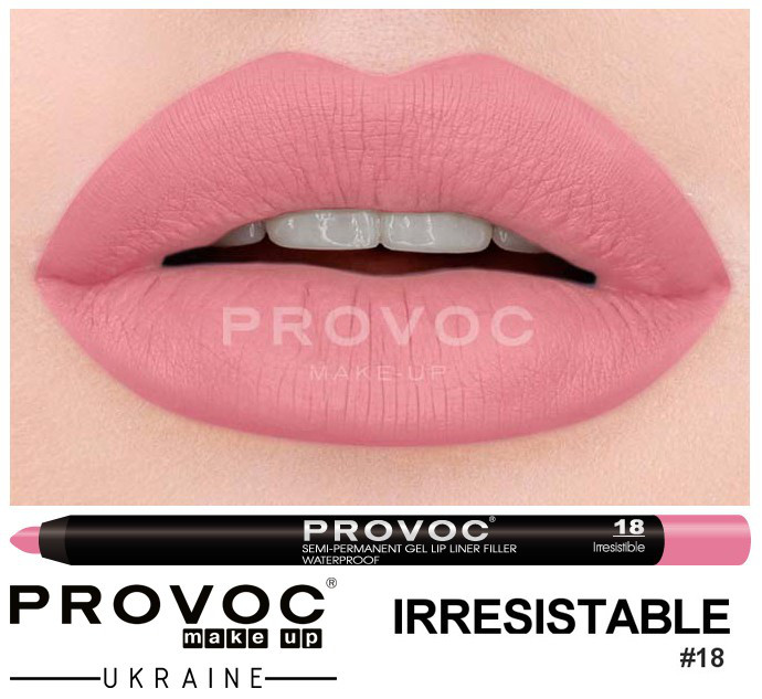 Полуперманентный гелевый карандаш для губ №18 (цв.натурально-розовый) PROVOC Gel Lip Liner Irresistible