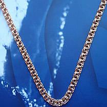 Серебряная позолоченная цепочка, 500мм, 24 грамма, плетение Бисмарк, фото 2
