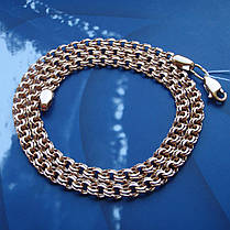 Серебряная позолоченная цепочка, 500мм, 24 грамма, плетение Бисмарк, фото 3