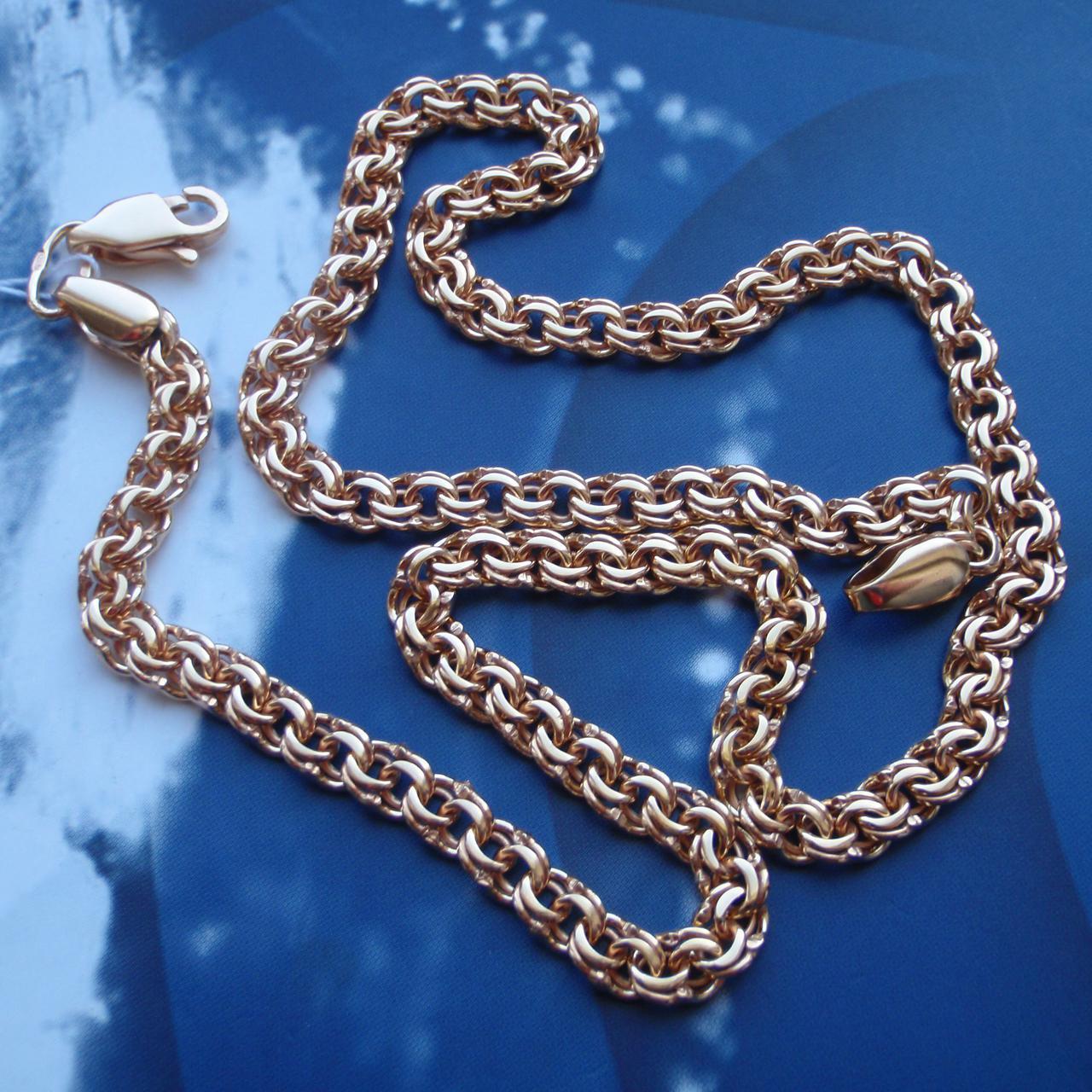 Серебряная позолоченная цепочка, 500мм, 24 грамма, плетение Бисмарк