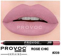 Полуперманентный гелевый карандаш для губ №209 (цв. натурально-розовый, холодный) PROVOC Gel Lip Liner Rose Chic