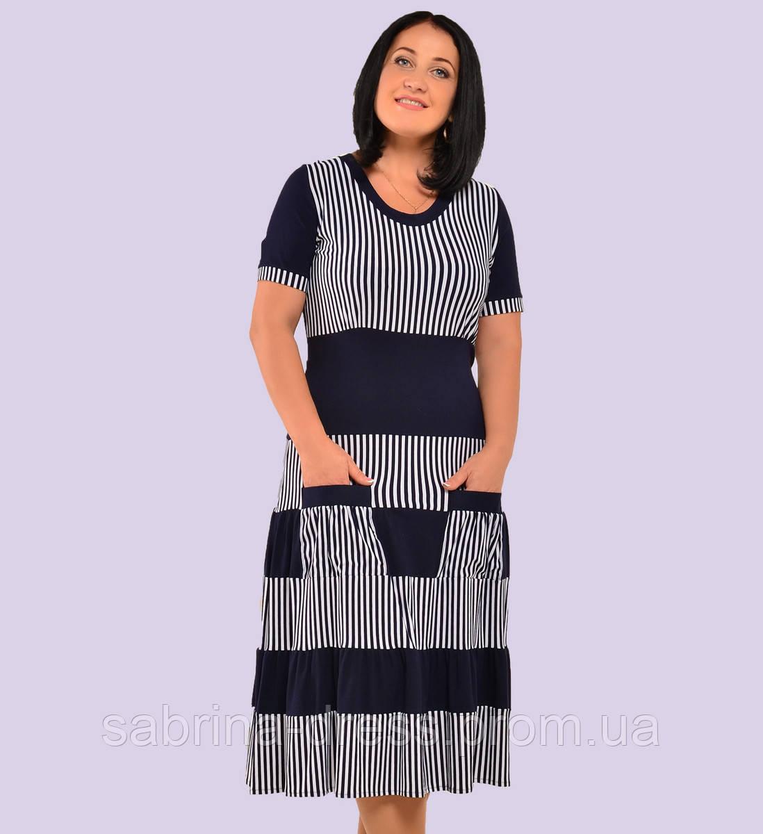 Женское трикотажное платье. Модель 62. Размеры 50-66