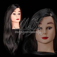 Учебная голова 30% натуральных волос, длина 75 см, черная