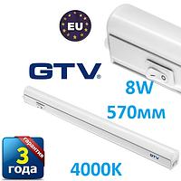 Светодиодный LED светильник GTV, 8W, 570мм, накладной, с выключателем, (подсветка для мебели) ПОЛЬША