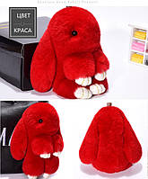 Брелок кролик из меха XM красный.