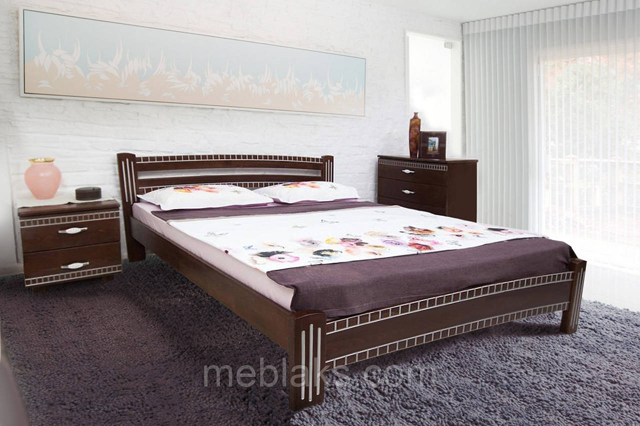 """Кровать деревянная """"Пальмира"""" патина (серия Мария)  Микс Мебель"""