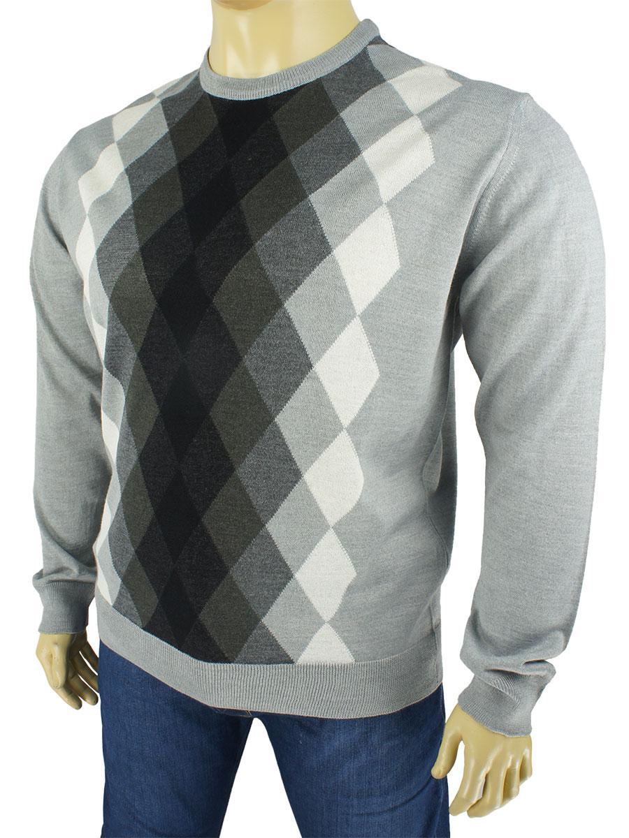 Комбинированный мужской свитер большого размера Taddy 0300 B круг С размер 4XL