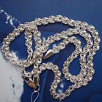 Серебряная цепочка, 500мм, 22 грамм, плетение Роза, фото 2