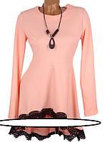 Красивая туника с кружевом (в расцветках) Размеры: 42, 44, 46, 48  Нарядное платье-туника приталеного фасона с
