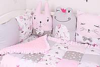 Комплект в дитяче ліжечко з тваринками рожево сірий, фото 2