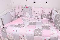 Комплект в дитяче ліжечко з тваринками рожево сірий, фото 3