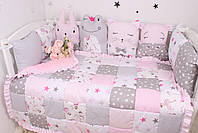 Комплект в детскую кроватку с зверюшками розово серый, фото 4