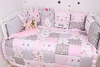 Комплект в дитяче ліжечко з тваринками рожево сірий, фото 4