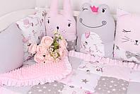 Комплект в дитяче ліжечко з тваринками рожево сірий, фото 5