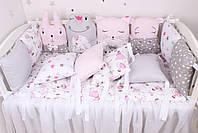 Комплект в дитяче ліжечко з тваринками рожево сірий, фото 6
