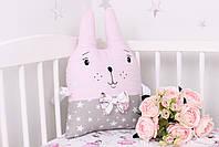 Комплект в детскую кроватку с зверюшками розово серый, фото 7