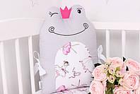 Комплект в дитяче ліжечко з тваринками рожево сірий, фото 8