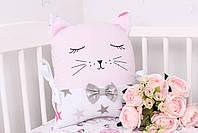 Комплект в дитяче ліжечко з тваринками рожево сірий, фото 9
