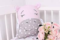 Комплект в дитяче ліжечко з тваринками рожево сірий, фото 10