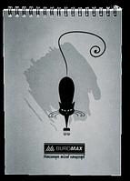 """Блокнот на пружине сверху А5, 48л, """"Коты"""", серый Buromax (BM.2475-09)"""