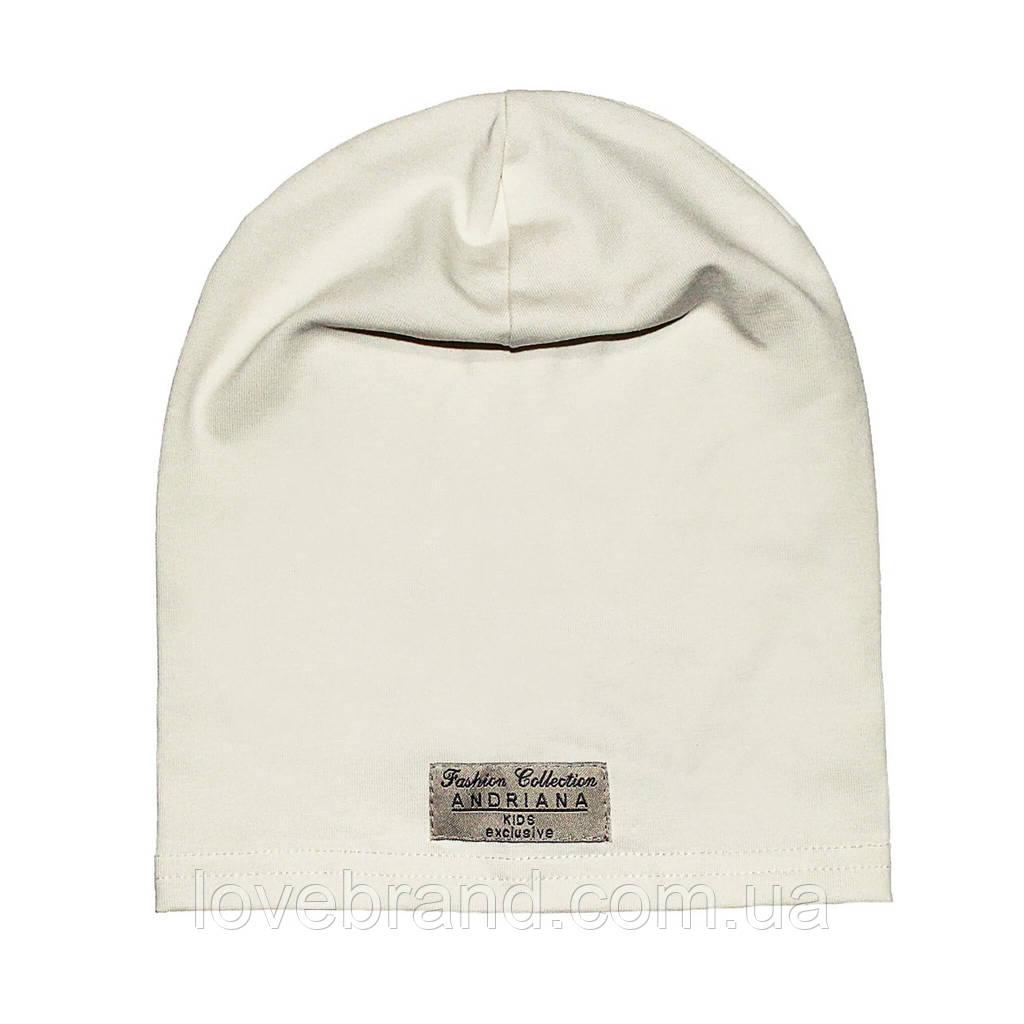 Дизайнерская однослойная шапочка Fashion Collection Andriana Kids для девочки белая 44-46 см