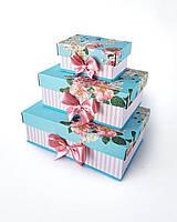 Прямоугольный подарочный комплект коробок ручной работы в бирюзовом тоне с розами