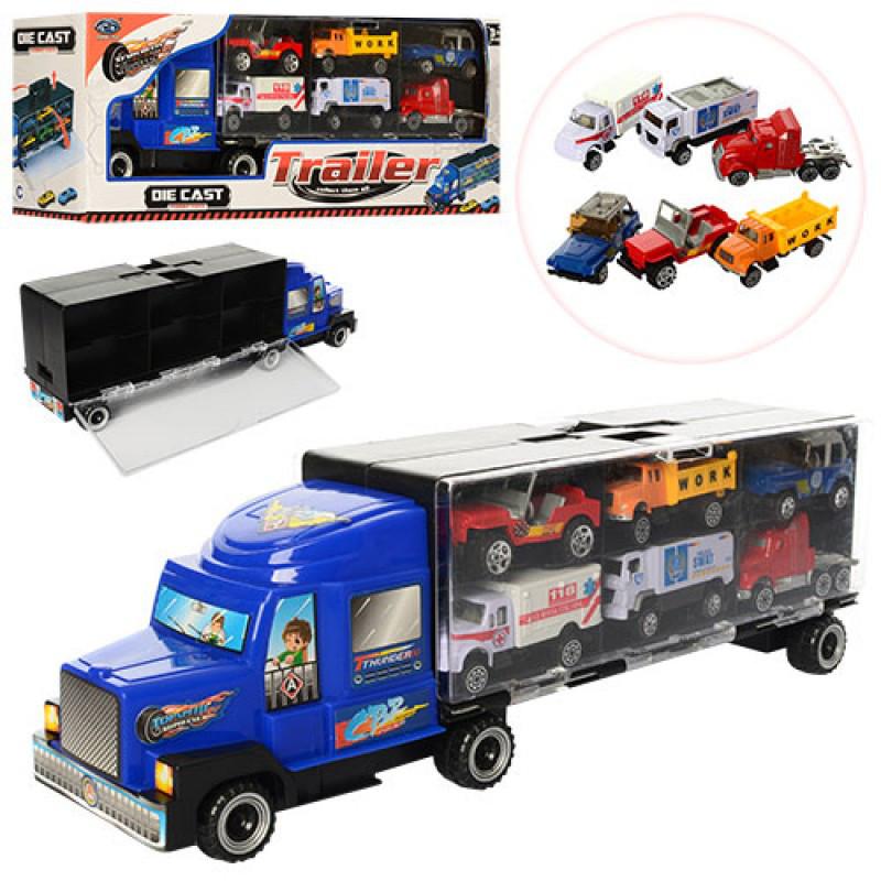 Машинка Трейлер металл 37 см, контейнер-гараж машинки 6 шт,   MZ997D