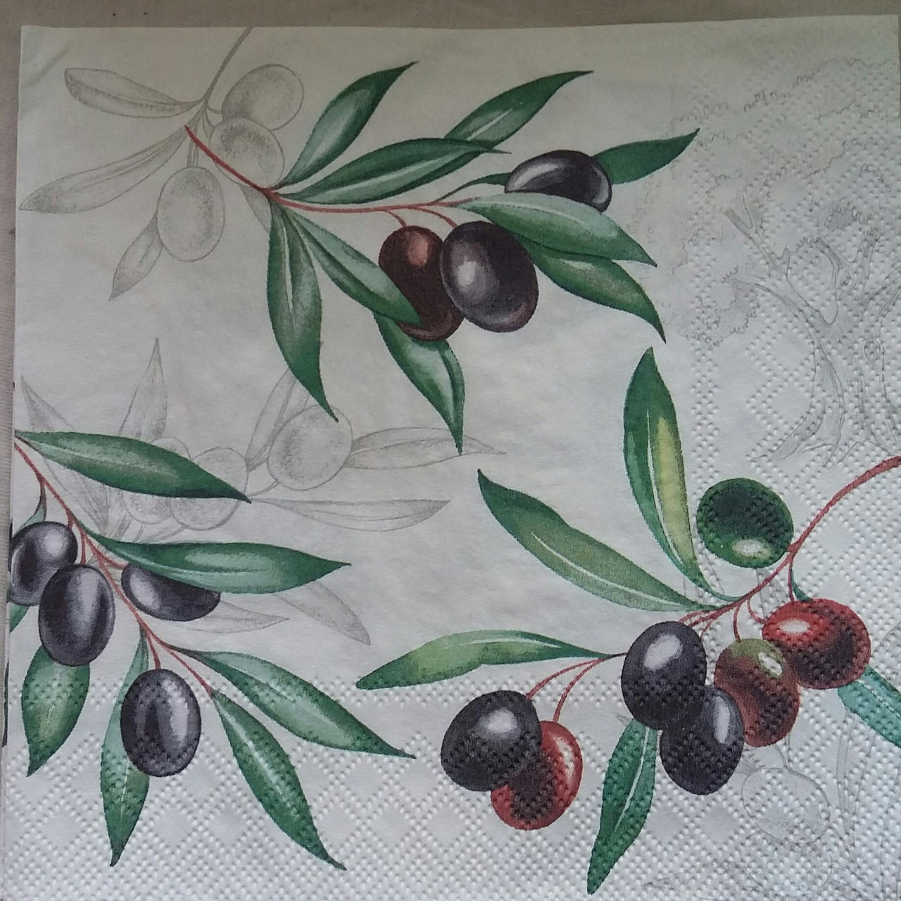 "Салфетка для декупажа ""Оливковая ветка"", 33х33 см, 8"