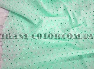 Ткань батист с вышивкой (прошва) мята