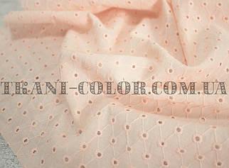 Ткань батист с вышивкой (прошва) персиковый