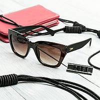 Женские брендовые очки копия Диор квадратные коричневые, фото 1