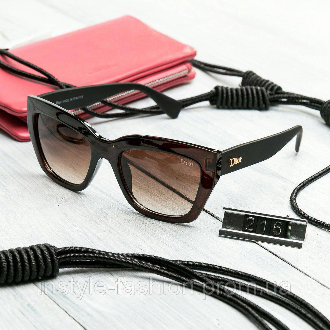 Женские брендовые очки копия Диор квадратные коричневые