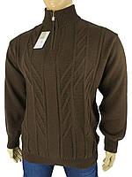 Чоловічий в'язаний светр Turhan 0540 В батал (коричневий на змійці)