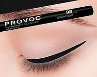 Полуперманентный гелевый карандаш для глаз №98 (черный с голограмными блестками) PROVOC Gel Eye Liner Mischevious
