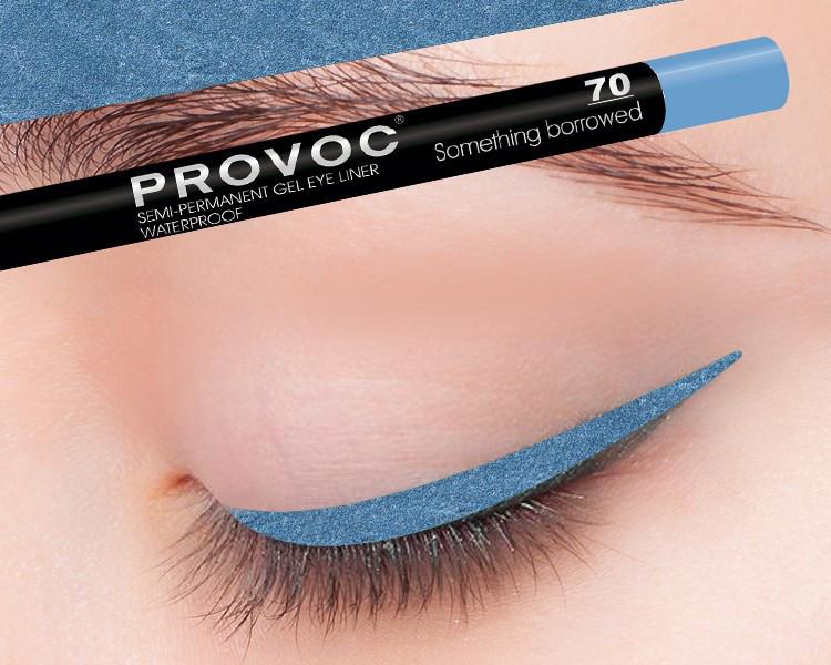 Полуперманентный гелевый карандаш для глаз №70 (насыщенно-голубой)  PROVOC Gel Eye Liner Something borrowed