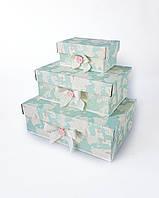 Прямоугольный подарочный комплект коробок ручной работы в молочно-бирюзовом тоне с географической картой